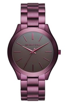 Free shipping and returns on MICHAEL Michael Kors 'Slim Runway' Bracelet Watch, 42mm at Nordstrom.com. A slender bezel and slim etched indexes lend understated class to a round bracelet watch that strikes a classic note in timeless hues and textures.