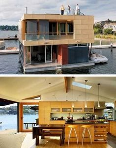 If you love to work with your hands, have basic carpentry skills and love the water, you should consider building your own boat. Building your own boat can save you lots of money. Beautiful Houses Interior, Beautiful Homes, Houseboat Living, Houseboat Ideas, Lakefront Property, Floating House, Floating Boat, Floating Island, Tiny House Movement