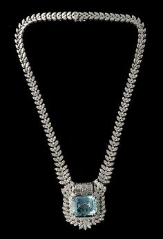 AQUAMARINE, DIAMOND, 18K WHITE GOLD NECKLACE Sold for $27,140 #jewelry…
