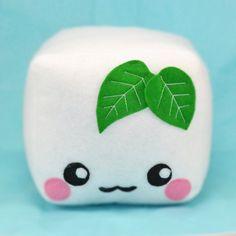 Tofu plush toy pillow cushion plushie food pretend by Plusheez