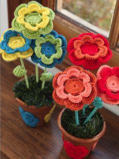 Macetas Crochet flor