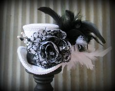 Black and White Mini Top Hat, Alice in Wonderland, Bridal Fascinator, Tea Party, Mad Hatter Hat, Moulin Rouge, Royal Ascot, Chevron on Etsy, $54.00