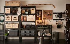 Rangement Garage Ikea, Ikea Garage, Garage Storage, Garage Attic, Organisation Ikea, Ikea Portugal, Bench With Shoe Storage, Storage Hacks, Home Furnishings