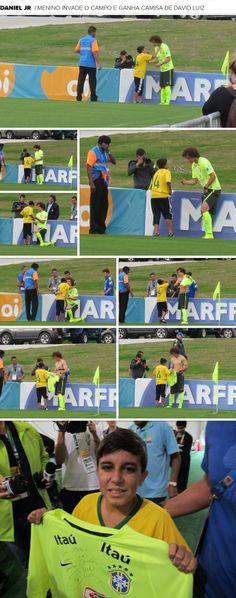 MOSAICO - menino daniel invade treino do Brasil e pega camisa com David Luiz (Foto: Richard Souza)