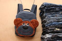 Bear kids backpack, Bear backpack , Recycled denim backpack , jeans kids toddler backpack , dark jeans bag , denim bag , childrens backpack by SecondBirthday on Etsy