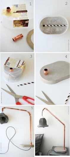 Lámpara DIY con tubos de cobre y base de cemento - afnord.blogspot.se - DIY Lamp