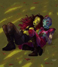 you will always be my sister by GabiTozati on DeviantArt Marvel Memes, Marvel Dc Comics, Marvel Avengers, Gamora And Nebula, Nebula Wallpaper, Superhero Family, Marvel Drawings, Marvel Fan Art, Guardians Of The Galaxy