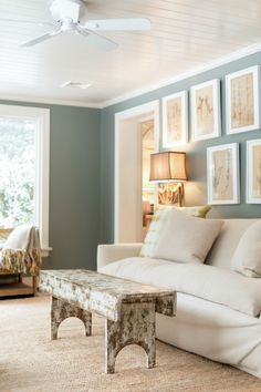 Loving this sunny sunroom. A perfect place to unwind and escape | Paint color Benjamin Moore Intrique