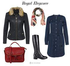 schwarze Lederjacke blaues Jeanskleid, schwarze Stiefel, rote Tasche, gemusterter Schal // black leather jacket, blue denim dress, black boots, red bag, patterned scraf