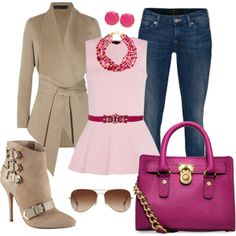 """""""pink/beige outfit idea"""" things to wear with jeans"""