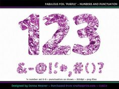 FABULOUS FOIL PURPLE Numbers and Punctuation by Donna Weaver This is a unique alpha, perfect for many different themes including your Christmas or Easter projects!  Included is one full character set as specified above. All characters are individual files in png format.  Click my name to see more of my products, including corresponding alphas that match this one.  Thanks for looking :)
