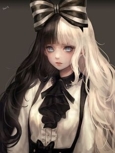 Image result for anime girl half black half white hair