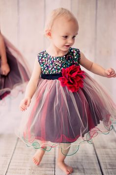 Red & Black Multi Color Sequins, Satin and 3 Layers of Tulle Dress (Baby Girls Sizes)