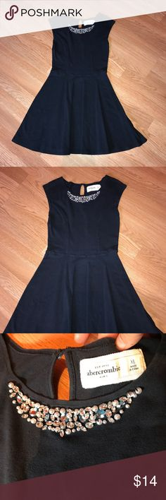 Abercrombie Kids Embellished Girl's Dress Good condition. Navy blue with pearls and rhinestones. Size XL Abercombie Kids Dresses