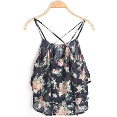 SheIn(sheinside) Black Spaghetti Strap Floral Chiffon Cami Top ($9.89) ❤ liked on Polyvore featuring tops, chiffon cami, beach tanks, chiffon tank top, camisole tank tops and floral tank
