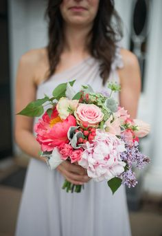 Bright and colorful bridesmaid bouquet for a garden wedding.