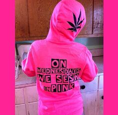 On Wednesdays We Sesh In Pink, Mean Girls Weed Hoodie! Comfy cotton zip hoodie with marijuana leaf and pot logo. from CannabisCakes on Etsy