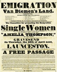 Free passage for single women to Tasmania Asian History, British History, Tudor History, Ancient History, Historical Women, Historical Photos, Funny Vintage Ads, Vintage Images, Vintage Posters