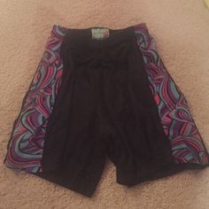 Yale Sportswear Athletic Shorts Black mesh material, with colors of blue, purple, and pink along the sides. Shorts