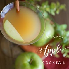 Love the taste of caramel apples but want it in a drink.  Try these Caramel Apple Cocktails! Apple Cocktails, Holiday Drinks, Caramel Apples, Sweet, Life, Food, Candy, Essen, Meals