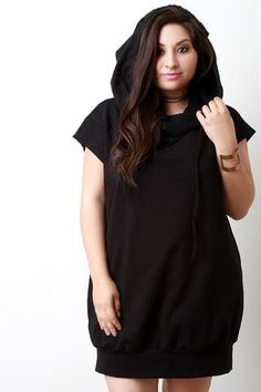 Cowl Neck Hoodie Pocketed Shirt Dress Plus Size