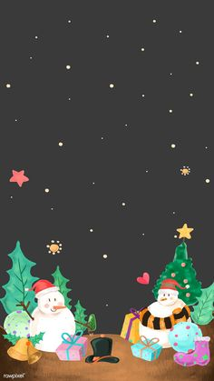 Cute snowman on Christmas night mobile phone wallpaper vector Cellphone Wallpaper, Phone Wallpapers, Mobile Wallpaper, Cute Wallpapers, Wallpaper Backgrounds, Christmas Night, Christmas Art, Christmas And New Year, Christmas Gifts