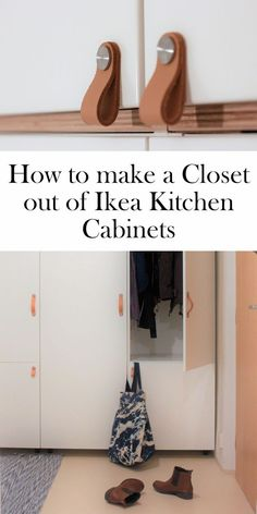 How to make a closet out of ikea kitchen cabinets | Veddinge | osternas | DIY Ikea closet | leather pulls | kitchen cupboards for closet | hall closet | ourguidetotheeveryday.com