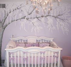 Pretty wall mural baby girl nursery