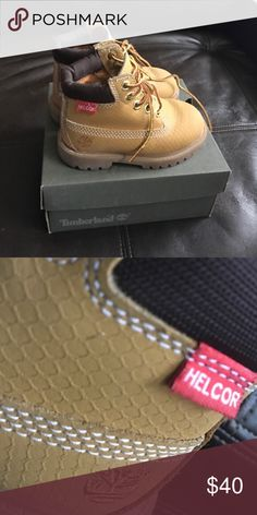Timberland Helcor The color is wheat Helcor is the diamond pattern that protects against water and stains.  EUC little dude grew out of them so quickly.  Take advantage of him not beating up the shoes.  Laces are perfectly intact. Comes with box and from a smoke and pet free home. Timberland Shoes Boots