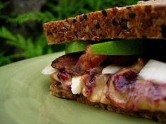 Best Ever PBJ Sandwich  4 slices thick cut bacon (or substitute)  4 slices fresh whole grain bread  8 tablespoons natural chunky peanut butter  4 teaspoons jam, preserves, jelly  1 small granny smith apple, thinly sliced  1 banana, cut lengthwise into strips