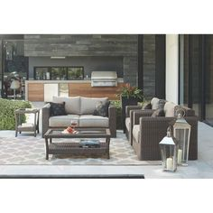 Home Decorators Collection Naples Dark 4-Piece All-Weather Wicker Patio Deep Seating Set with Putty Cushions