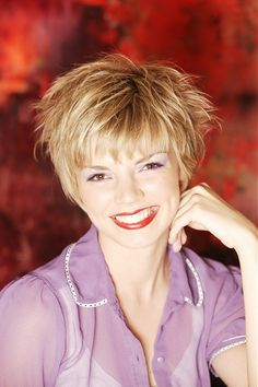 short blonde straight choppy spikey coloured Mature Layered Womens haircut hairstyles for women