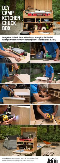 How to Build Your Own Camp Kitchen Chuck Box An organized kitchen is the secret to a happy camping trip. Build your own wooden camp kitchen chuck box to take to the campground! Camping Diy, Van Camping, Zelt Camping, Auto Camping, Truck Camping, Family Camping, Camping Gear, Camping Hacks, Outdoor Camping
