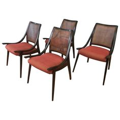 Four Cane Back Walnut Dining Chairs by Richard Thompson for Glenn of California 1