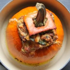 Stuffed Pumpkin Recipe, with Bacon, Cheese, Bread, Spinach, and Fresh Herbs.