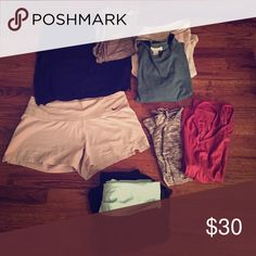 Yoga Bundle! 🌿 From left to right: black muscle tee (F21 L), Grey muscle tee (M/L), Heather grey long sleeve(M), Green Blue long sleeve (F21 M), Nike shorts (M), Grey tank (M), Red tank (M), Yoga pants (S/M). Nike Other