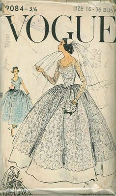Vintage Vogue Bridal Gown Sewing Pattern 9084 Size 16 | eBay