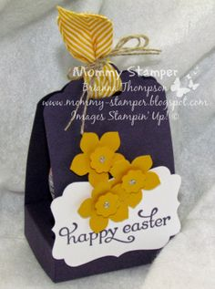 Stampin' Up, Easter, Scalloped Tag Topper, Delightful Dozen, Cadbury Crème Egg, 3D, Daffodils, Punch Art, Chevron Ribbon, Mommy Stamper