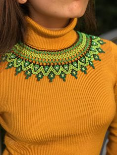 Reviera Nayarit Necklace - Green Color - Multi strand - Bib Style - clean look - simple elegant design - fashionable Collar Verde, Crochet Necklace, Beaded Necklace, Green Necklace, Handmade Necklaces, Green Colors, Sewing Patterns, Artisan, Etsy