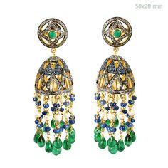 Emerald Diamond Pave Sterling Silver Chandelier Pearl Earrings 14K Gold Jewelry #Handmade #Chandelier