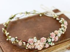 Blush Flower Crown Wedding Salmon Floral Crown Floral Headband Bridal Crown Crown Apricot Headpiece Coral Pink Flower Girl Halo Peach Bloom - A romantic floral wreath with beautiful flowers and leaves. Our breathtaking artificial flowers loo - Blush Flowers, Romantic Flowers, Bridal Flowers, Faux Flowers, Beautiful Flowers, Beautiful Beautiful, Floral Flowers, Flower Girl Halo, White Flower Crown