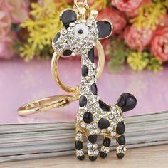 Giraffe Deer Pretty Blue Enamel Crystal HandBag Pendant Keyring Keychain For Car key holder K152