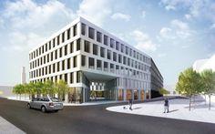Pohled na administrativní část s průchozím koridorem a obchody při ulici | Vizualizace: Schindler Seko Architects