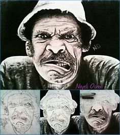 Graphite and charcoal drawing of Don Ramon  @ nayeli.ochoa. 509