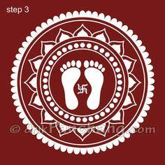 This page provides Lakshmi Pada Rangoli Designs with title Lakshmi Pada Rangoli 1 for Hindu festivals. Lakshmi Pada is also known as Shri Pada and Lakshmi feet. Rangoli Designs Latest, Rangoli Designs Flower, Colorful Rangoli Designs, Rangoli Designs Diwali, Beautiful Rangoli Designs, Kolam Designs, Alpona Design, Worli Painting, Drawing Room Design