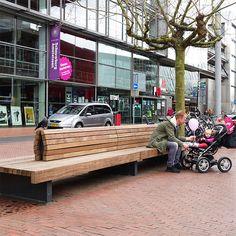 STREETLIFE Solid Serif Bench #StreetFurniture #ParkBench #FSCHardwood