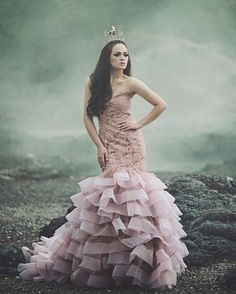 """""""Im trying so hard to like Monday but i just cant  . model by @sirena_elisabeth  gown by @alongpao"""""""