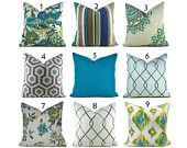 Pillow Covers ANY SIZE You Choose Decorative Pillow Cover Aqua Blue Pillow Aqua Pillow