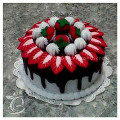 Choco Vanilla Strawberry Cake | decorated jar | toples flanel