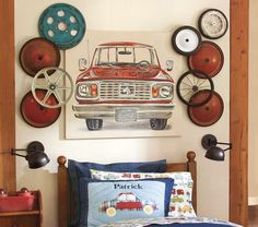 Get different classic car hubs and paint them to match the room. Then hang them in a unique pattern on the wall.